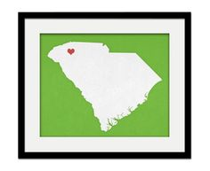 South Carolina State Custom Personalized Heart Print I Love South Carolina USA Hometown Wall Art Gift Souvenir on Etsy, $17.00