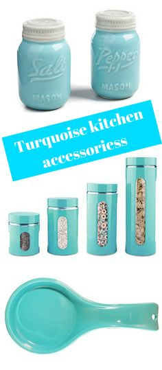 Turquoise kitchen accessories are just lovely! They are exactly what one needs to add a …I just love the Mason jar design of the salt and pepper shakers! Kitchen Trash Cans, Kitchen Jars, Kitchen Cabinets Decor, Kitchen Dinning, Turquoise Kitchen Decor, Aqua Kitchen, Kitchen Things, Kitchen Utensils, Kitchen Stuff