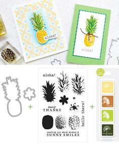 Hero Arts Pineapples Card & Stamp Set Color Layering Ideas