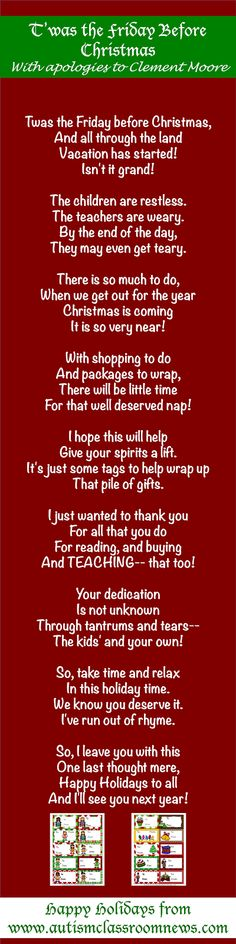 A Gift From Me to You (And a poem!) by Autism Classroom News: http://www.autismclassroomnews.com
