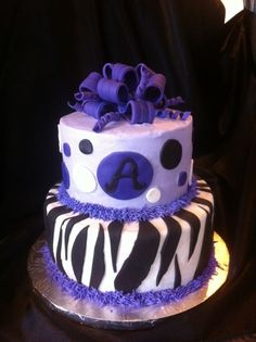 Purple Zebra  Striped Cake By CharismaticConfections on CakeCentral.com