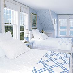 Beachy Bedrooms This blue-and-white color scheme lends a natural, laid-back feel to help balance the sweet fabrics.This blue-and-white color scheme lends a natural, laid-back feel to help balance the sweet fabrics. Blue Rooms, Blue Bedroom, Bedroom Decor, Clean Bedroom, Bedroom Ideas, Summer Bedroom, Serene Bedroom, Bedroom Neutral, Bedroom Beach