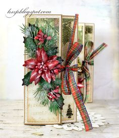 Hello everybody I prepared some Chocolate Christmas Cards. This is a great way to send a card and a Christmas gift in one. I decortated them with Pretti Flori Christmas Flowers and Christmas Berry Spr