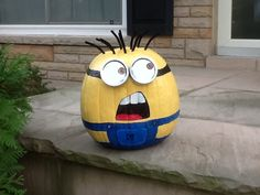 My Minion pumpkin that I made for our staff pumpkin contest between the branches of our library. All of the kids voted and he won by a landslide! His goggles are made from cookie cutters and canning lids and his hair is pipe cleaners ( holes made with wooden skewers first ). I used outdoor acrylic craft paint. He looked good long after Halloween!