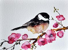 ORIGINAL Watercolor Chickadee Greeting Card Bird by ArtCornerShop