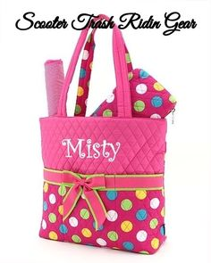 Diaper Bag Personalized Baby Tote Monogram Quilted Pink Green Polka Dots New