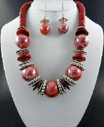 Color Chunky Beads Necklace and Earring Set