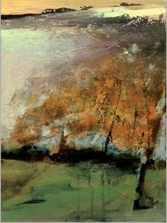 """Joan Fullerton Paintings: Abstract Mixed Media Landscape Painting """"In The Wind"""" by Intuitive Artist Joan Fullerton"""