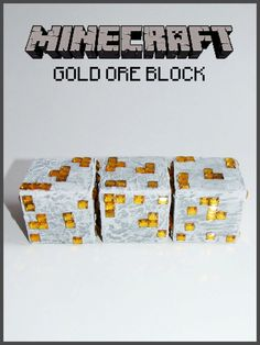 Minecraft Inspired Gold Ore Block.