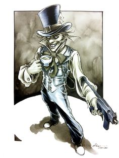 The Mad Hatter by Daniel Govar, in Ethan Kaye's Commissions Comic Art Gallery Room Gotham Villains, Comic Villains, Batman Tattoo, I Am Batman, Batman Art, Star Wars Poster, Star Wars Art, Star Trek, Comic Kunst