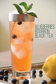 Blueberries Bourbon Black Tea and Mint are the basic ingredients in this long tall summer sipper that's reminds me of a fruity glass of really cold iced tea Iced Tea Cocktails, Bourbon Cocktails, Cocktail Drinks, Cocktail Recipes, Alcoholic Drinks, Beverages, Summer Cocktails, Tea Recipes, Banana Milkshake