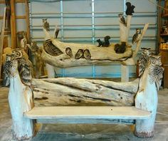 Unique Wood Furniture, Driftwood Furniture, Outdoor Furniture, Furniture Ideas, Outdoor Decor, Tree Logs, Wood Tree, Trees, Chainsaw Wood Carving