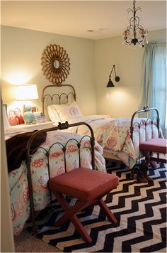 Life in Grace - girl's rooms: green gray walls gold sunburst mirrors blue drapes Fieldstone Hill Design - Whimsical girls' bedroom with Layla Girls Bedroom, Bedroom Decor, Bedrooms, Bedroom Ideas, Budget Bedroom, Bedroom Designs, Girl Nursery, Life In Grace, Two Twin Beds