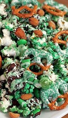 Green Popcorn and Pretzel Mix