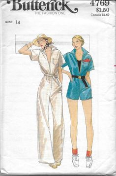 Butterick 4769 Misses' 70s Jumpsuit Sewing Pattern with Front Zipper Bust 36 by Denisecraft on Etsy