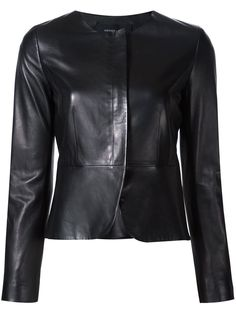 Derek Lam collarless fitted jacket, Women's, Size: 42, Black, Cotton/Lamb Skin/Viscose