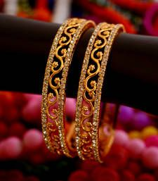 Gold Plated Stone Studded Designer Bangles Set Of 2 - Classiques - 3096544 Gold Bangles Design, Gold Earrings Designs, Gold Jewellery Design, Designer Bangles, Designer Jewelry, Gold Jewelry Simple, Bangle Set, Bangle Bracelets, Bridal Jewelry