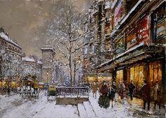 Grands Boulevard et Porte St Denis sous la Neige Painting by Antoine Blanchard | Oil Painting