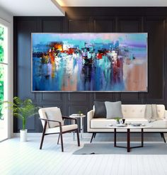 """Contemporary Panoramic Palette Knife Painting Extra Large Abstract Modern Black White Wall Art 48x96""""/120x240cm 720€"""