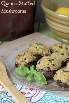 Zucchini & Quinoa Stuffed Mushrooms Recipe #vegetarian #gf