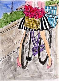 bike with flowers in entrance with packages in the back..