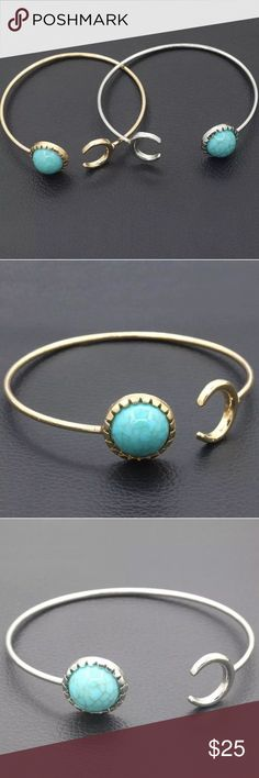 Gorgeous adjustable turquoise moon cuff bangle! Gorgeous adjustable turquoise moon cuff bangle! Comes in silver or gold and can be adjusted to your wrist size! Natural turquoise stone on both! 6.2 cm diameter made of high quality alloy Jewelry Bracelets