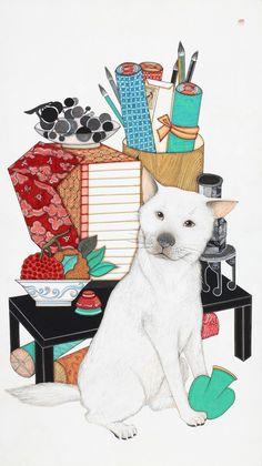by Suyeon Kwak Asian Art, Folk Art, Artist Inspiration, Illustration, Drawings, Korean Art, Painting, Art, Animal Illustration