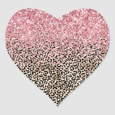 Glam Gold Leopard Print Glitzy Pink Glitter Heart Sticker   Zazzle.com Glitter Hearts, Pink Glitter, Dripping Lips, Acrylic Painting Inspiration, Ariana Grande Wallpaper, Editing Background, Glitter Gifts, Custom Stickers, Holiday Cards
