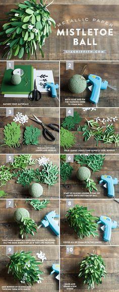 DIY Paper Mistletoe Kissing Ball