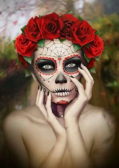 Sylvia Ji inspired by on DeviantArt Halloween 2019, Scary Halloween, Fall Halloween, Halloween Party, Halloween Costumes, Diy Day Of The Dead, Day Of The Dead Artwork, Halloween Spider Makeup, Halloween Makeup Looks