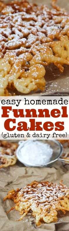 Just like your favorite state fair treat! These gluten free funnel cakes are sure satisfy your sweet dough cravings, without the wheat! #glutenfree #desserts