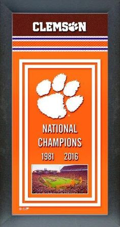 Clemson Tigers 2016 National Champions Framed Championship Banner