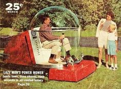 This is an awesome photo of an air conditioned riding lawnmower!