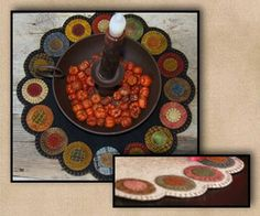 Primitive Gatherings Scrappy Pennies Candle Mat The Pattern Hutch wool applique craft pattern