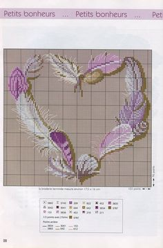 ~ Cross Stitch Feather Heart ~