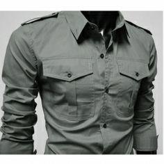 Pocket Badges Metal Button Men Jean Slim Long-sleeved Shirt