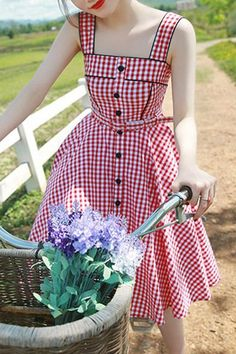 Sweet Square Neck Tiny Red Plaid Printed Flare Midi Dress For Women