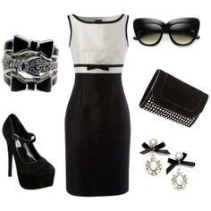 Vestido gris y negro