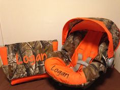 REALTREE  fabric CAMO & orange  infant Car Seat Cover with Canopy and Diaper Bag with Free Monogram on Etsy, $100.00