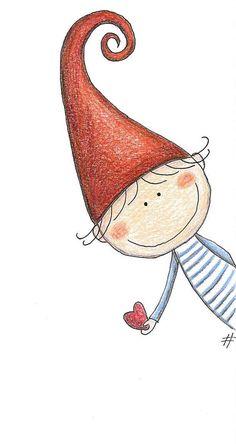 Un lutin au grand coeur - mezzo folletto - roberta topini Christmas Drawing, Christmas Art, Christmas Doodles, Christmas Gnome, Rock Art, Doodle Art, Cute Drawings, Beautiful Drawings, Painted Rocks