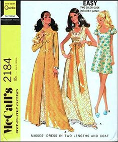 McCall's 2184 Misses Maxi Dress or Mini Dress and Maxi Coat, Vintage Sewing Pattern, Check Listings for Size McCall's Short Dresses, Summer Dresses, Formal Dresses, Maxi Coat, Sixties Fashion, Puff Sleeves, Sewing Stores, S Star, Vintage Sewing Patterns
