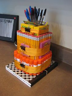 "4 Growing Boys: School supply cake <---i don't usually go for the ""cakes"" but this is pretty cute."