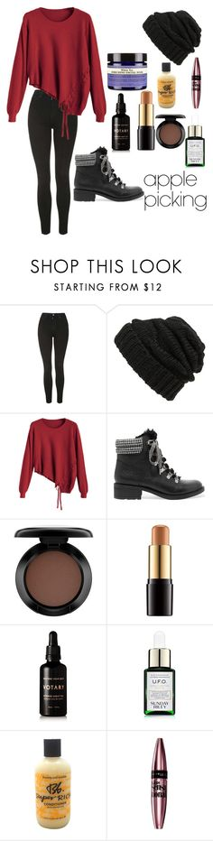 """""""Comfy Apple picking"""" by anujith ❤ liked on Polyvore featuring Topshop, Leith, Sam Edelman, Neal's Yard Remedies, MAC Cosmetics, Lancôme, Votary, Sunday Riley, Bumble and bumble and Maybelline"""