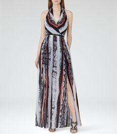 Womens Pomegranate Printed Maxi Dress - Reiss Derwent