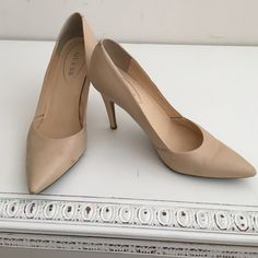 "NUDE, POINTED PUMPS BY GUESS SIZE 10 Practically new, nude pumps by Guess. High heels about 4"" So sexy. Matte finish with real leather upper. Size US 10 Guess Shoes Heels"
