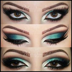 """I'd do this look for Halloween if your being something evil. The green for the eyeshadow just says """"Wicked""""!"""