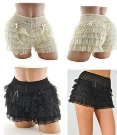 BURLESQUE LACE SHORTS PETTIPANTS SISSY BLOOMER HOLLOWEEN SQUARE DANCE XS S M | eBay