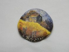 Rustic Cabin Painting on Rock