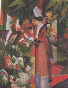 August Macke, Walk among Flowers, N.D. on ArtStack #august-macke #art
