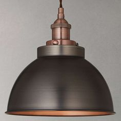 Buy John Lewis Baldwin Pendant Ceiling Light, Pewter& from our Ceiling Lighting range at John Lewis. Free Delivery on orders over Copper Light Fixture, Copper Pendant Lights, Copper Lighting, Antique Lighting, Light Fixtures, Island Lighting, John Lewis Pendant Lights, Industrial Lighting, Kitchen Lighting Fixtures
